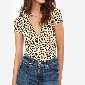 Express One Eleven Leopard Wrap Front Top NWT